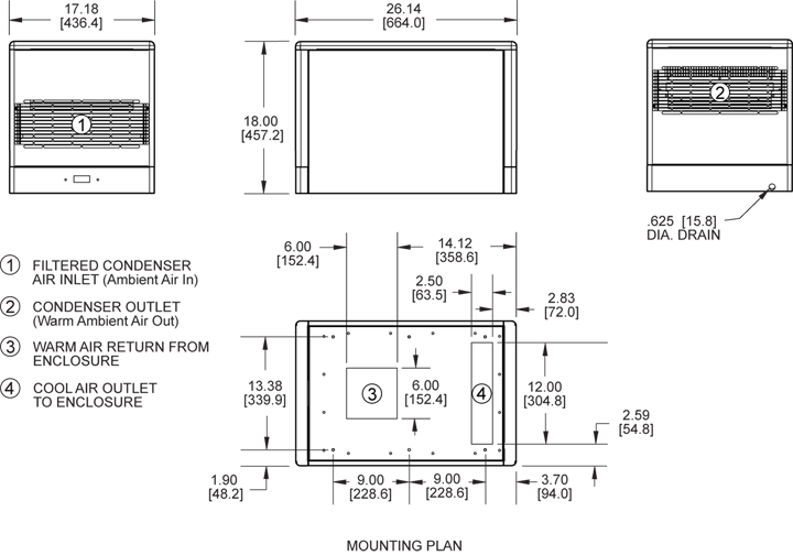 Advantage Top-Mount Air Conditioner general arrangement drawing