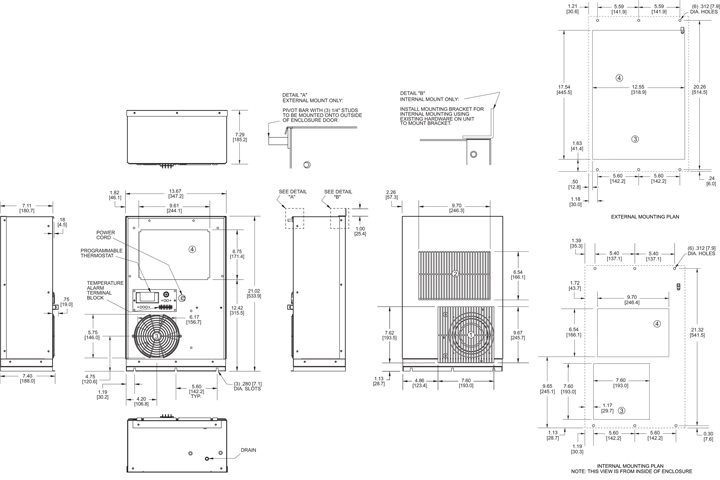 Profile DP21 (Legacy) Air Conditioner general arrangement drawing