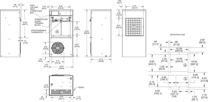 Guardian DP24 480V Air Conditioner general arrangement drawing