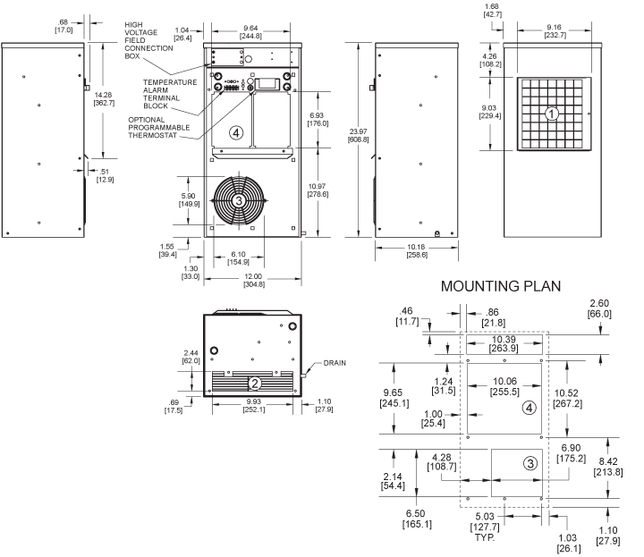 Guardian DP24LV Air Conditioner general arrangement drawing