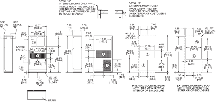 Profile DP33 (Legacy) Air Conditioner general arrangement drawing
