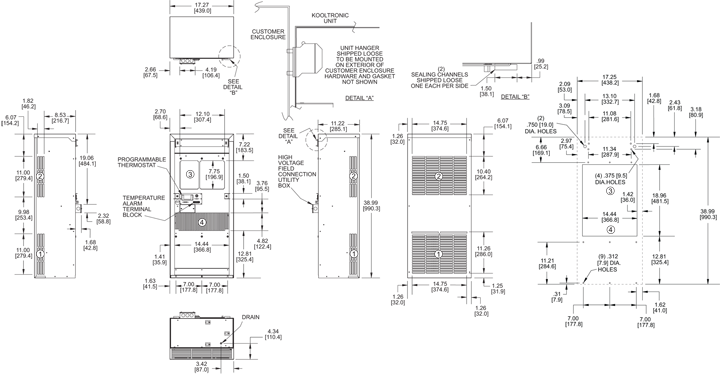Guardian DP38L 480 Air Conditioner general arrangement drawing