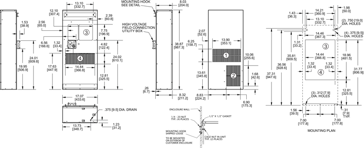 Profile DP38 480V (Leg.) Air Conditioner general arrangement drawing
