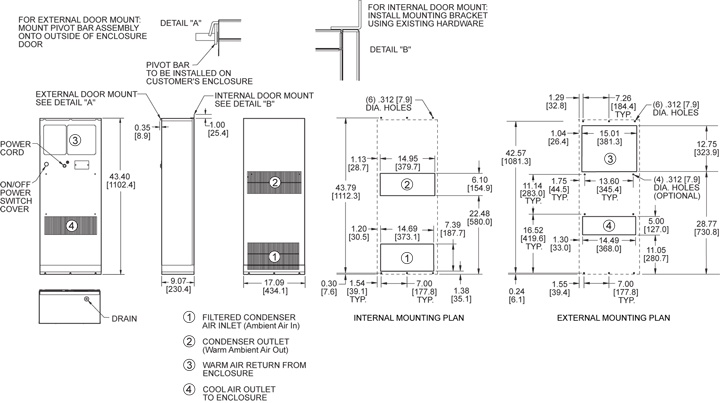 Profile DP43 (Legacy) Air Conditioner general arrangement drawing