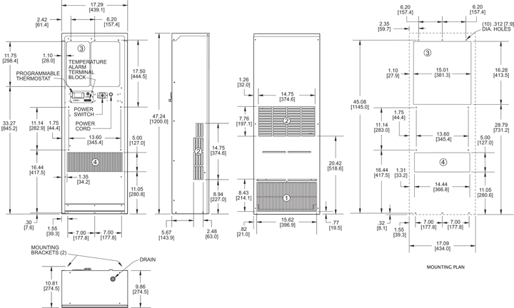 Guardian DP47 Air Conditioner general arrangement drawing