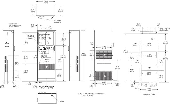 Guardian DP47L-1 Air Conditioner general arrangement drawing