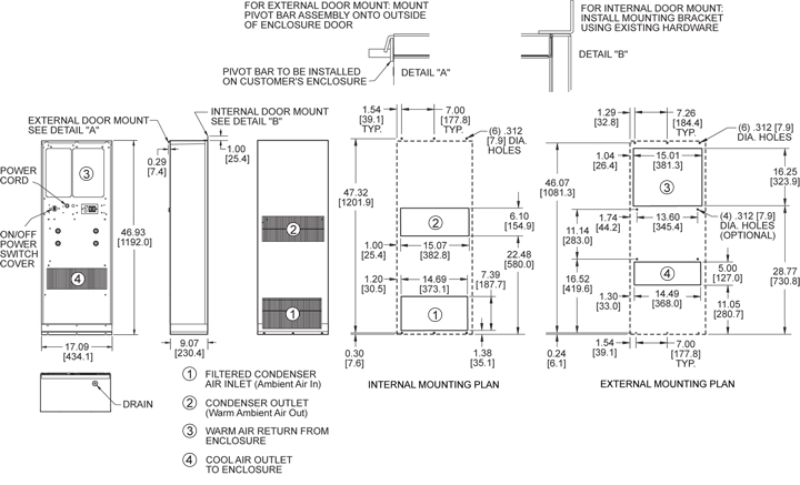 Profile DP47 (Disc.) Air Conditioner general arrangement drawing