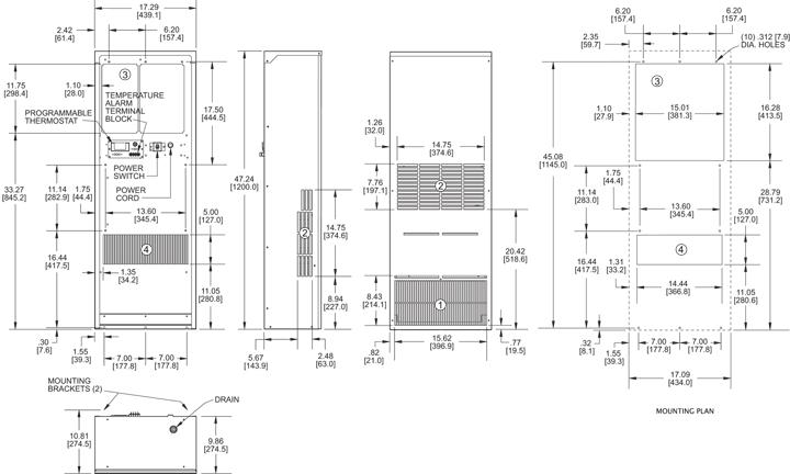 Guardian DP47LV Air Conditioner general arrangement drawing
