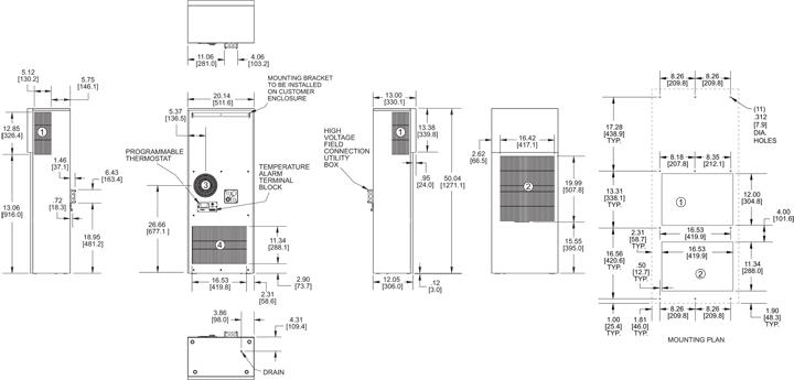 Guardian DP50 480V Air Conditioner general arrangement drawing