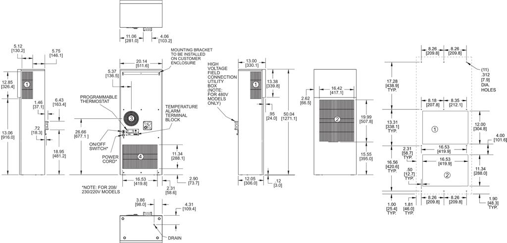 Guardian DP50LV Air Conditioner general arrangement drawing