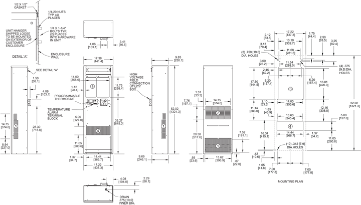 Guardian DP52LV 480V Air Conditioner general arrangement drawing