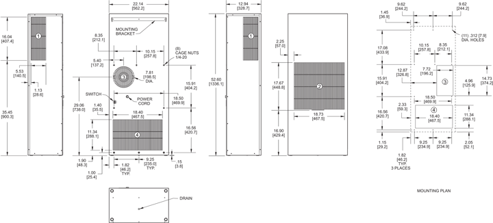 Profile DP53 (Dis.) Air Conditioner general arrangement drawing