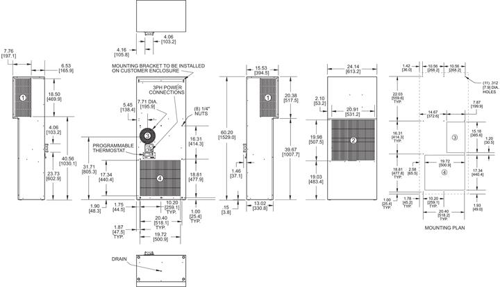Guardian DP60 480V Air Conditioner general arrangement drawing