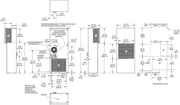Guardian DP60LV Air Conditioner general arrangement drawing