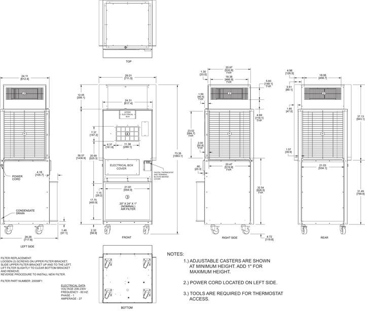 Intrepid EP56TR-4 Air Conditioner general arrangement drawing