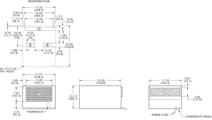 Rack/Top-Mount H5 Air Conditioner general arrangement drawing