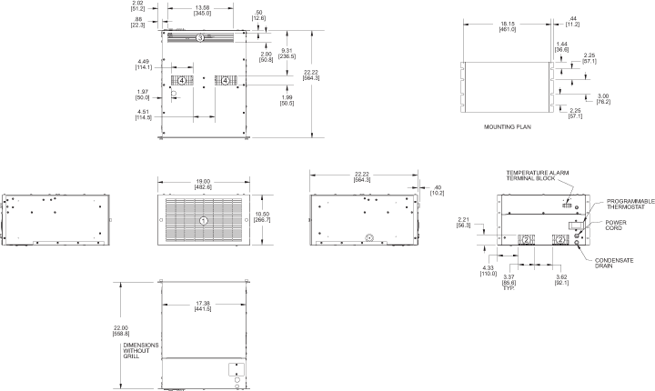 Rack/Top Mount H9 Air Conditioner general arrangement drawing