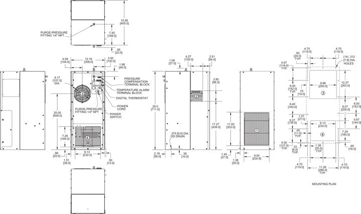 Hazardous Location HL28 Air Conditioner general arrangement drawing