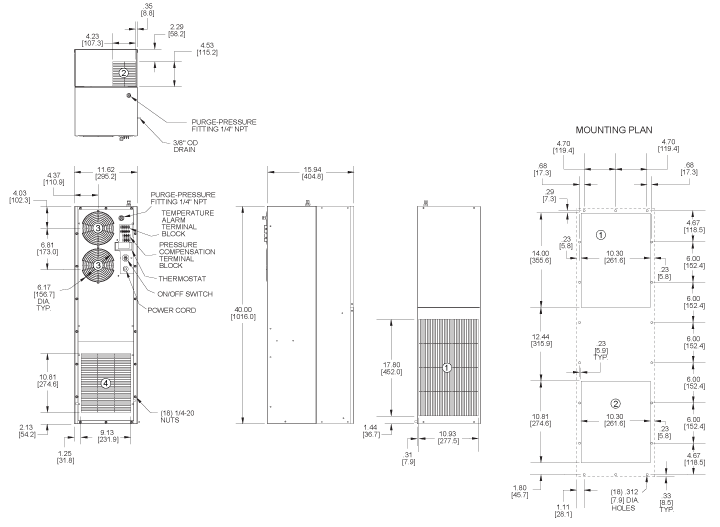 Hazardous Loc. HL40 Air Conditioner general arrangement drawing
