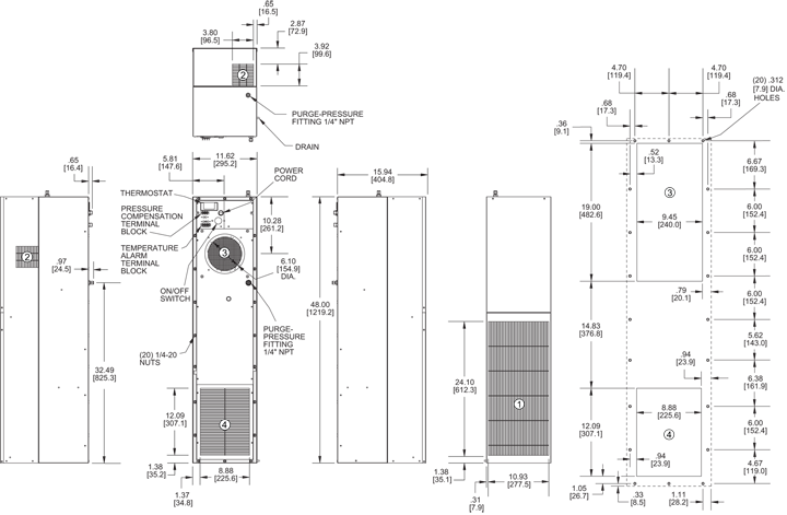 Hazardous Loc. HL48 Air Conditioner general arrangement drawing