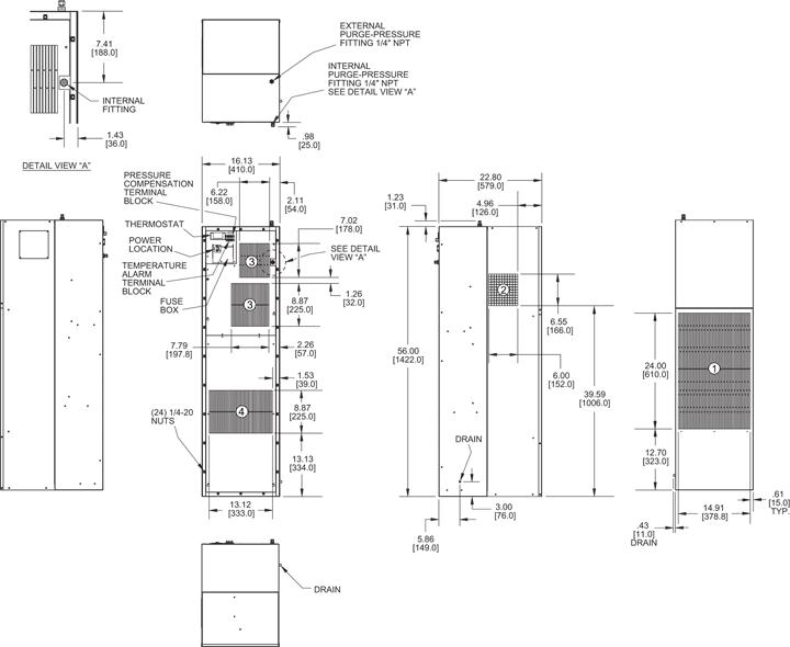Hazardous Loc. HL56 Air Conditioner general arrangement drawing