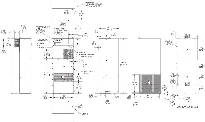 Hazardous Loc. HL60 Air Conditioner general arrangement drawing