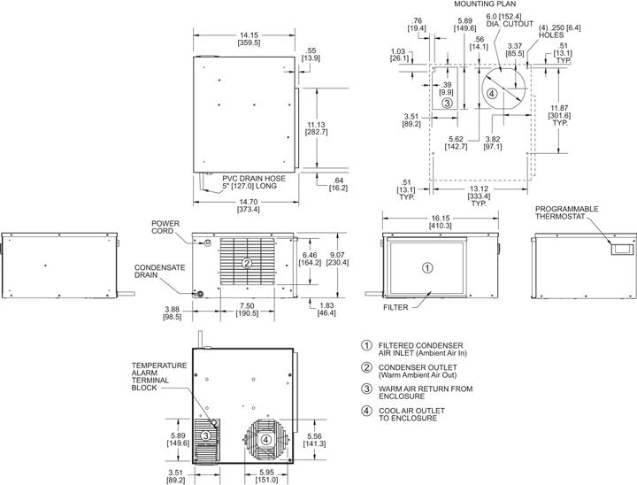 Horizontal Super-Mini Air Conditioner general arrangement drawing