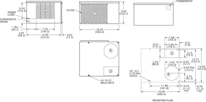 Horiz Super-Mini 50/60Hz Air Conditioner general arrangement drawing