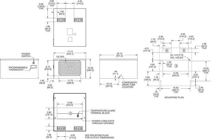 Top-Mount HT4 Air Conditioner general arrangement drawing