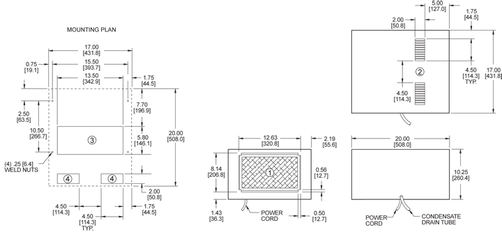 Top-Mount Compact Air Conditioner general arrangement drawing