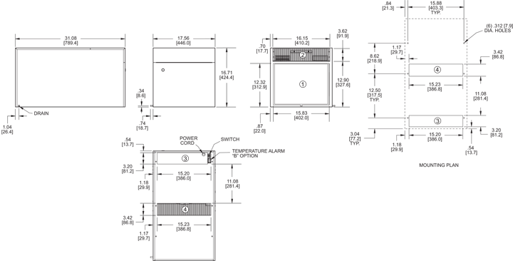 Top-Mount H12 Air Conditioner general arrangement drawing