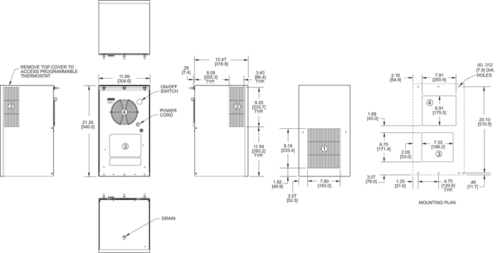 Integrity P21 Switchable Air Conditioner general arrangement drawing