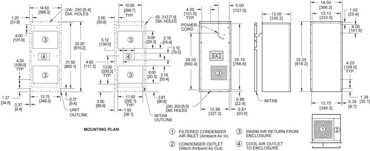 Integrity P32 Air Conditioner general arrangement drawing