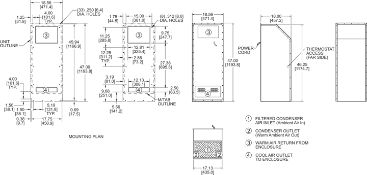 Integrity P47 Air Conditioner general arrangement drawing