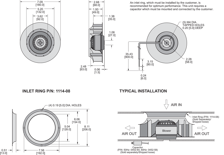 K2BC2E180/35B Impeller general arrangement drawing