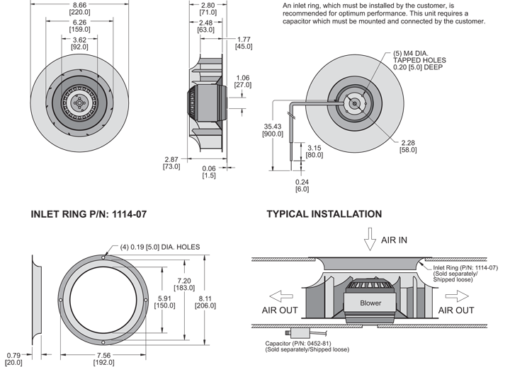 K2BC2E220/45F Impeller general arrangement drawing