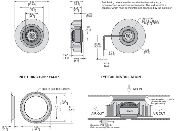 K2BC4E225/63A Impeller general arrangement drawing