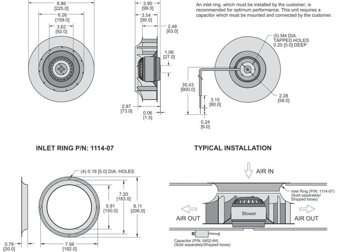 K2BC4E225/63A Impeller general arrangement drawing