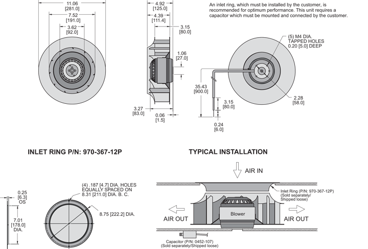 K2BC4E280/80A Impeller general arrangement drawing