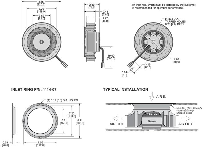 K7BCE220/45A Impeller general arrangement drawing