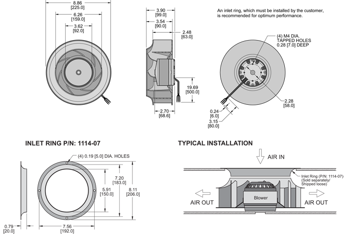 K7BCE225/63B Impeller general arrangement drawing