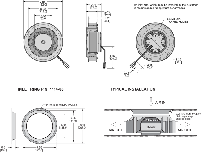 K8BCE192/40A Impeller general arrangement drawing