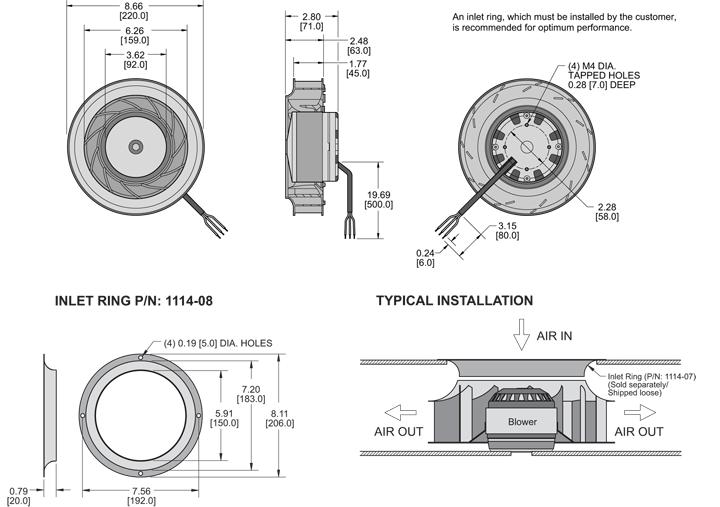 K8BCE220/45B Impeller general arrangement drawing