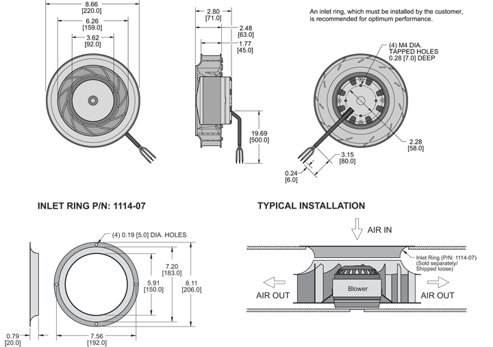 K8BCE220/45B Impeller general arrangement drawing
