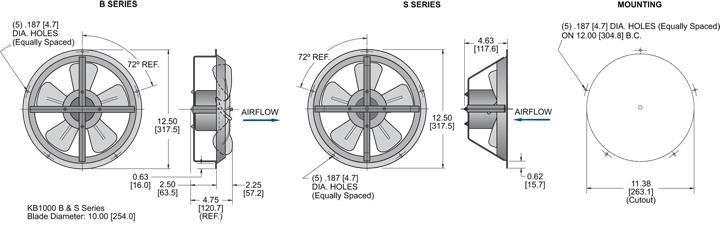 KB1000 Thin Fans general arrangement drawing
