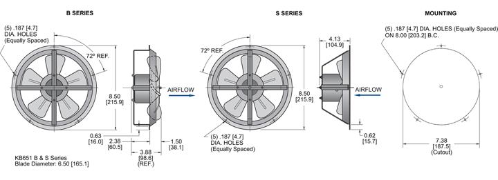 KB651 Thin Fans general arrangement drawing