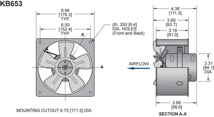 KB653 H.P. Fan general arrangement drawing
