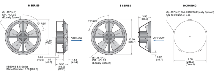 KB800 Thin Fans general arrangement drawing