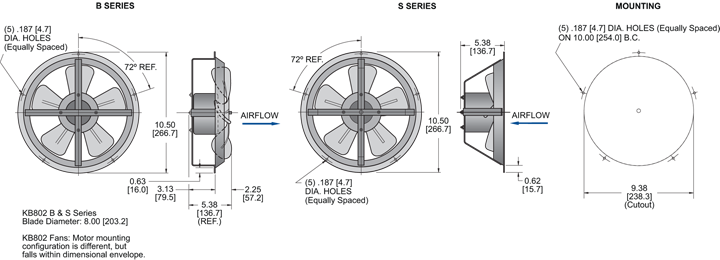 KB802 Thin Fans general arrangement drawing
