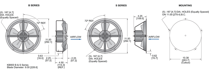 KB900 Thin Fans general arrangement drawing
